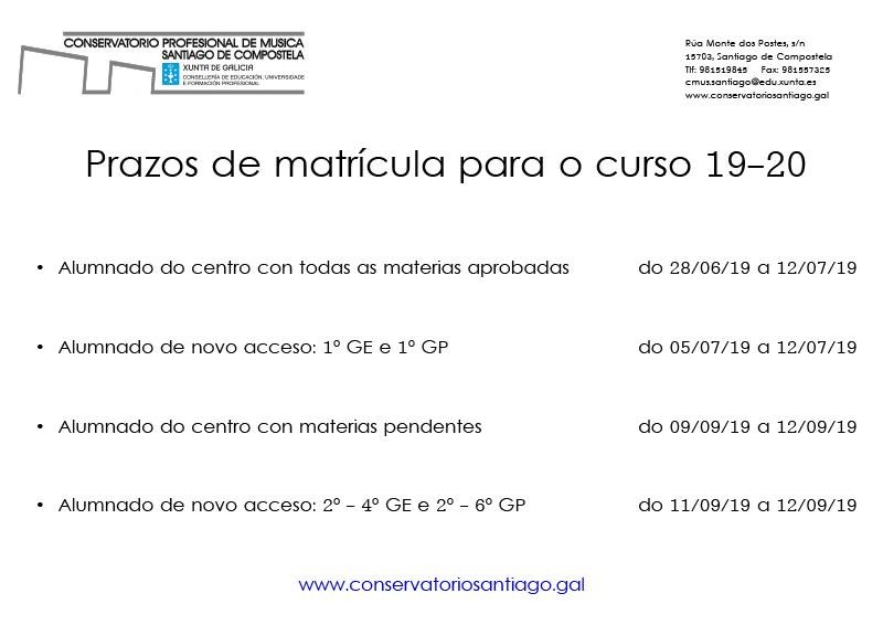 Calendario Escolar Xunta.Conservatorio De Santiago De Compostela